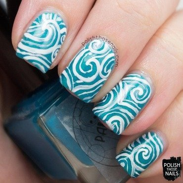 Parallax polish sea foam teal shimmer swirl nail art 3 thumb370f