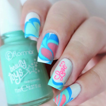 Water marble & small stamping for Valentine's Day  nail art by Natasha