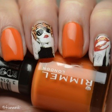 Tangerine with a modern twist nail art by Andrea  Manases