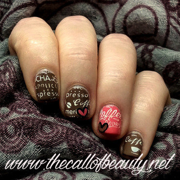 Coffee Inspired nail art by The Call of Beauty