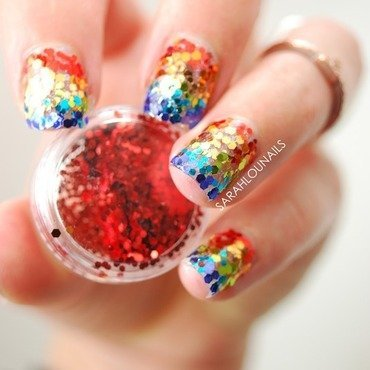 Glitter Rainbow Nails nail art by Sarah S