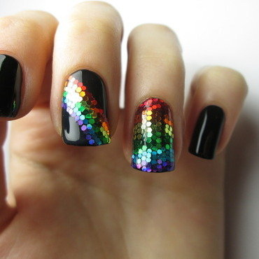 rainbow glitter placement  nail art by NailArt_T