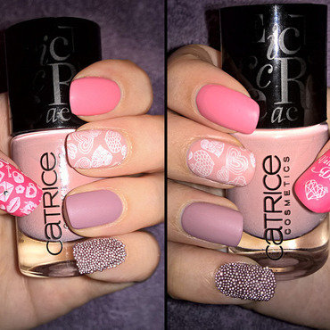 Girly Valentine's Day Nails nail art by Lacquerlicious