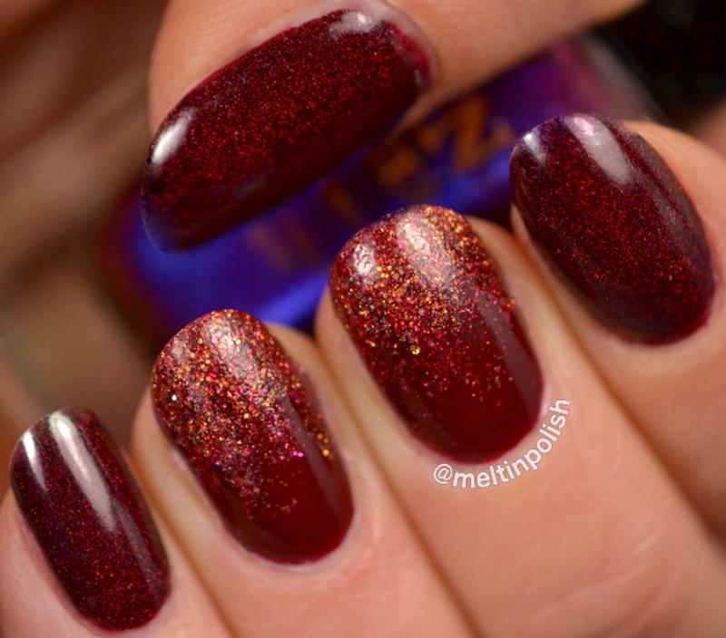 Festive Red nail art by Meltin'polish