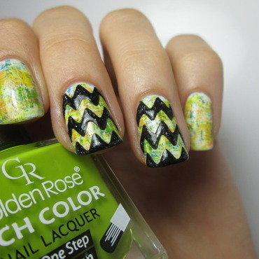 chevron black with dry brush background nail art by NailArt_T