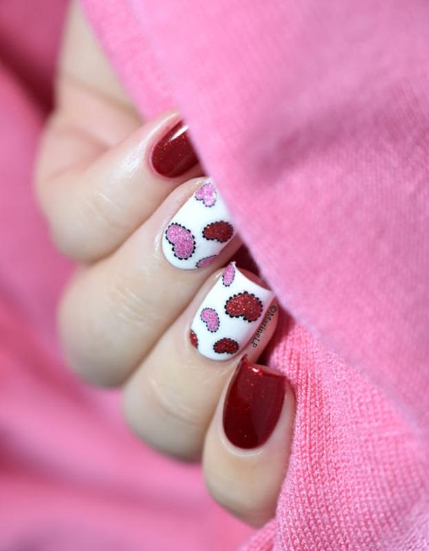 Sticky hearts nail art by Marine Loves Polish