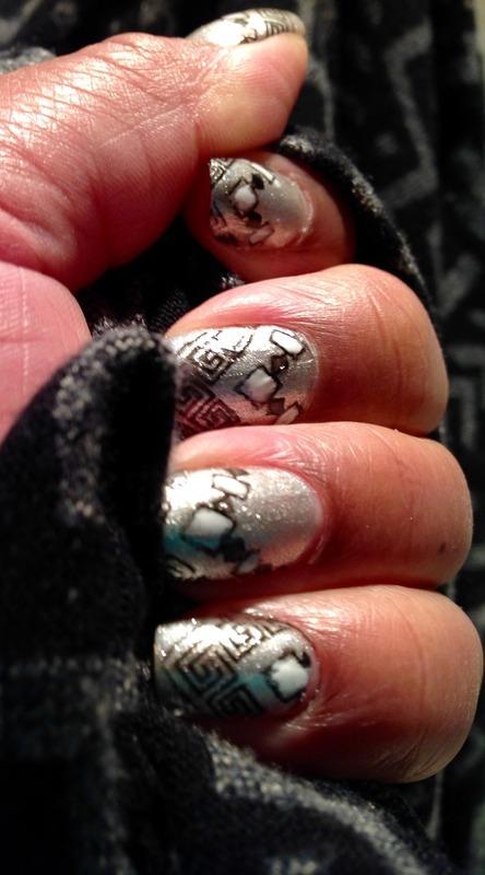 Tribal meet Art Deco nail art by cNewman