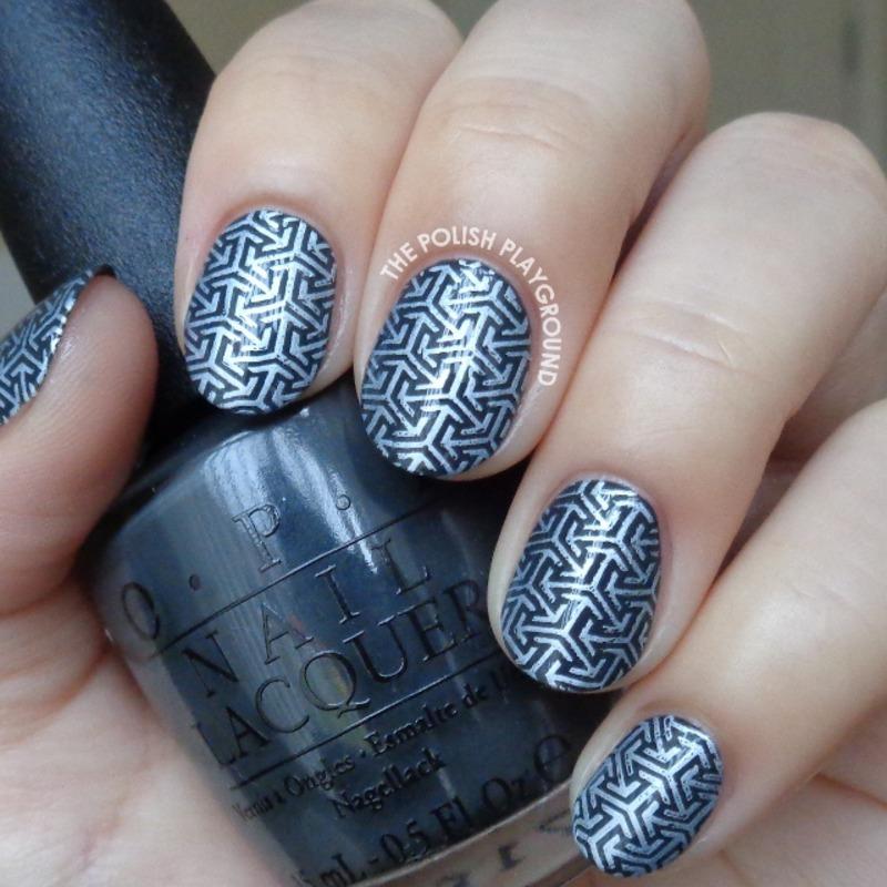 Dark Green Grey and White Arrows Stamping nail art by Lisa N