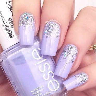 Glitter gradient  nail art by Virginia