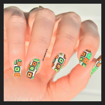 Orange&Green nail art by Les ongles de B.