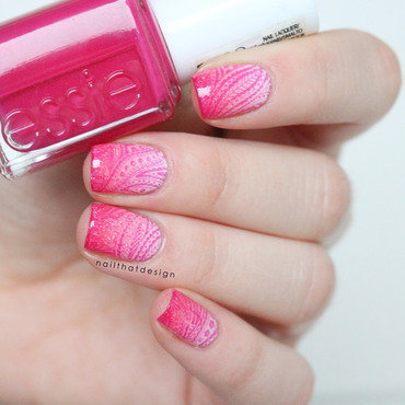 Pink Gradient Stamping nail art by NailThatDesign