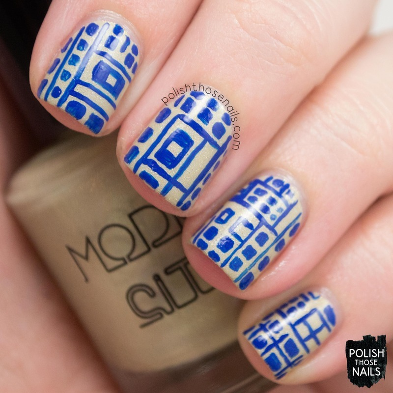 Geo Blues nail art by Marisa  Cavanaugh
