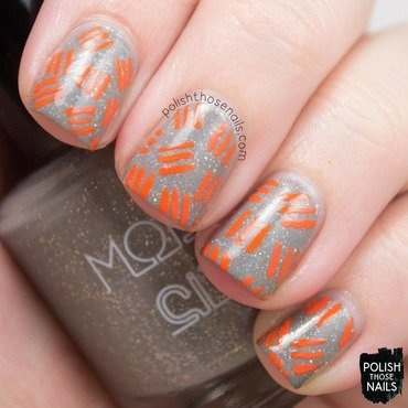 Model city polish wrapped in wool grey holo glitter orange pattern nail art 3 thumb370f