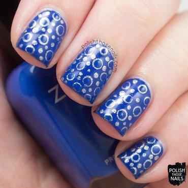 Bright blue silver polka dot pattern nail art 4 thumb370f