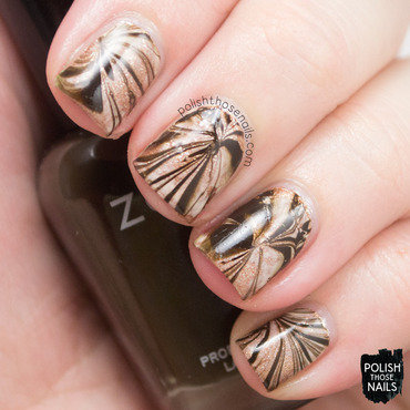 Brown coffee monochrome watermarble nail art 4 thumb370f