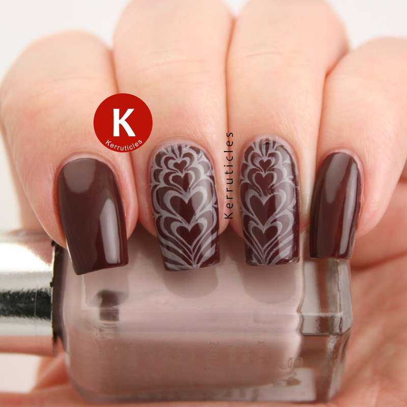 Coffee-inspired heart swirls nail art by Claire Kerr