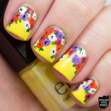 Yellow spring floral nail art 4 thumb370f