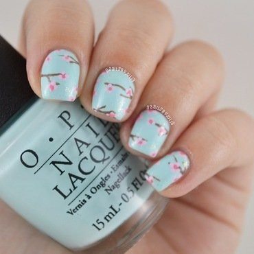 Cherry blossom nail art by Julia
