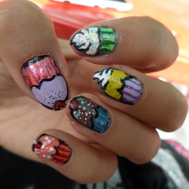 Cupcake nails 2015 nail art by Luzazul
