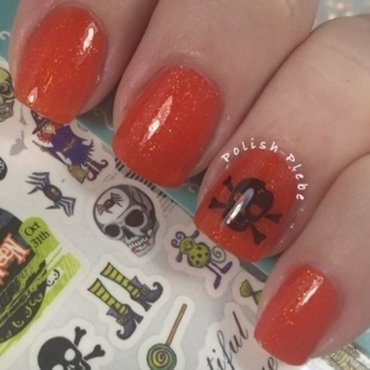 Skull and Crossbones nail art by Crystal Bond