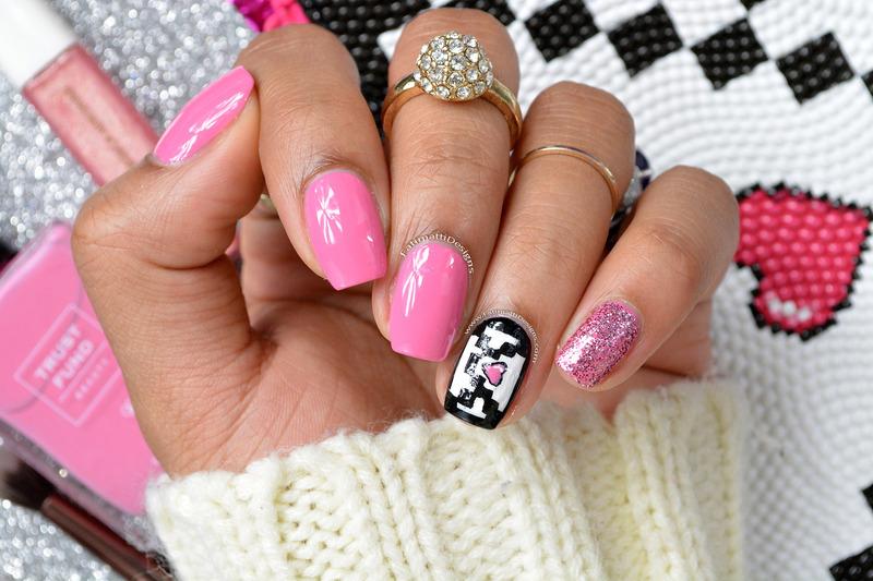 Pixelated Envelope nail art by Fatimah