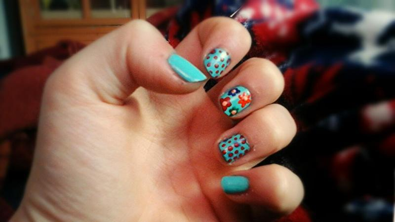 flowers and dots nail art by myla murray