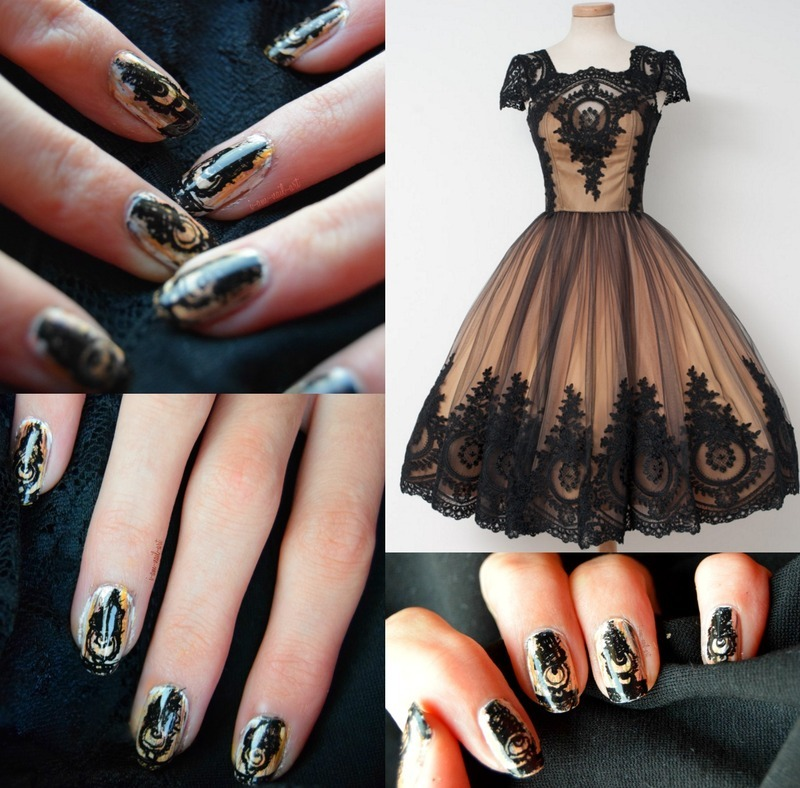 Praline&Caramel lace nail art by i-am-nail-art
