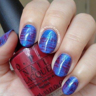 Metallic Blue and Burgundy Red Haze nail art by Lisa N