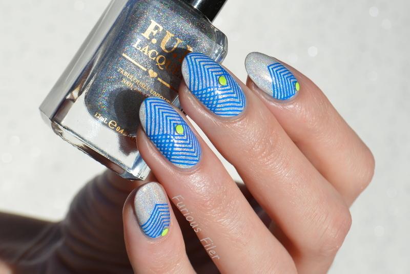 Geometric Holo nail art by Furious Filer