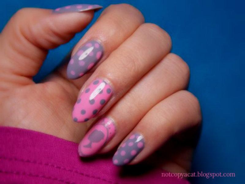 Retro girl nail art by notcopyacat