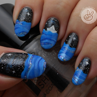 The Lonely Sail Boat nail art by Ithfifi Williams