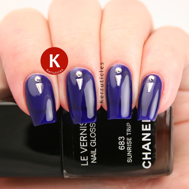 Purple jelly with studs nail art by Claire Kerr