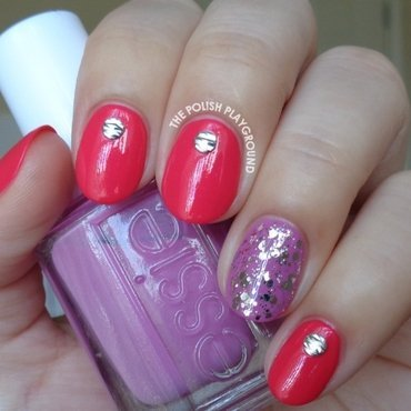 Pink 20red 20with 20silver 20textured 20nail 20studs 20nail 20art thumb370f