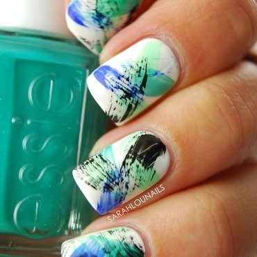 Blue Dry Brush Stroke Nails nail art by Sarah S