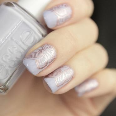 RoseGolden Stamping nail art by Tine