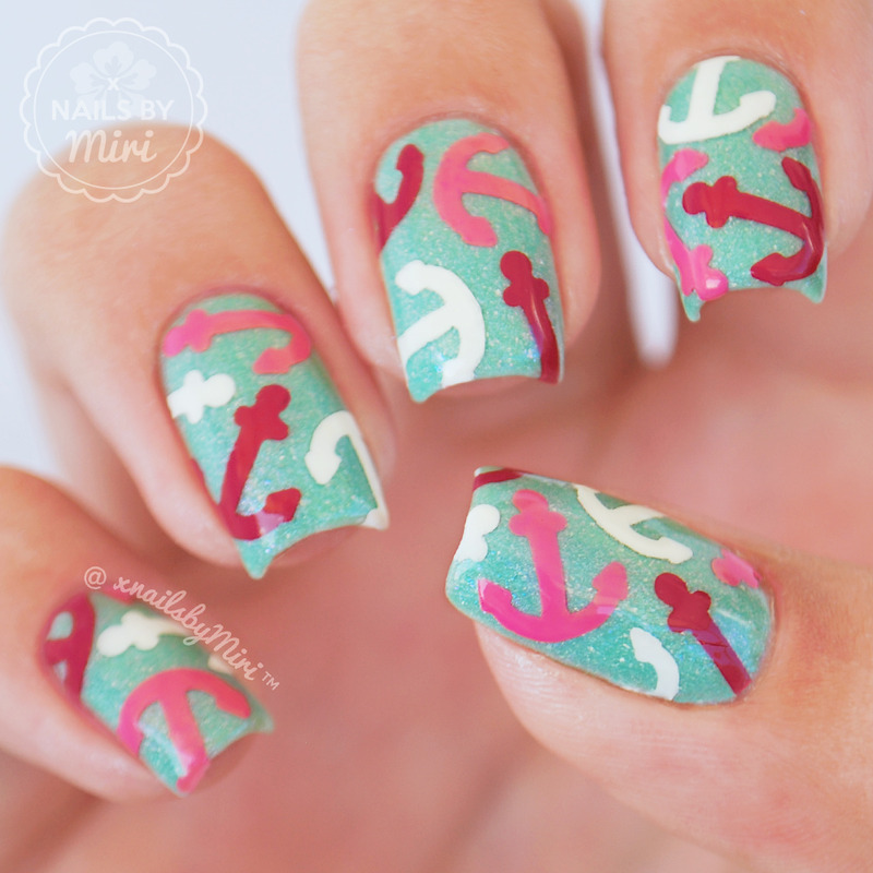 Anchor Print nail art by xNailsByMiri