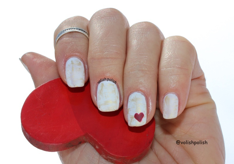 Super easy dry brush mani with tiny red heart nail art by Volish Polish