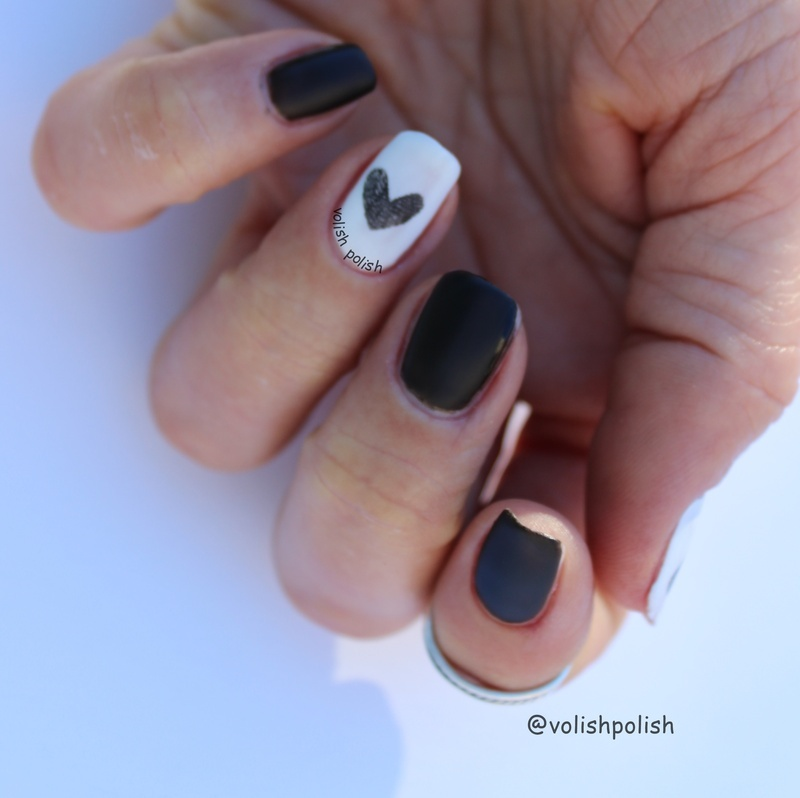 Fingerprinted heart nail art by Volish Polish