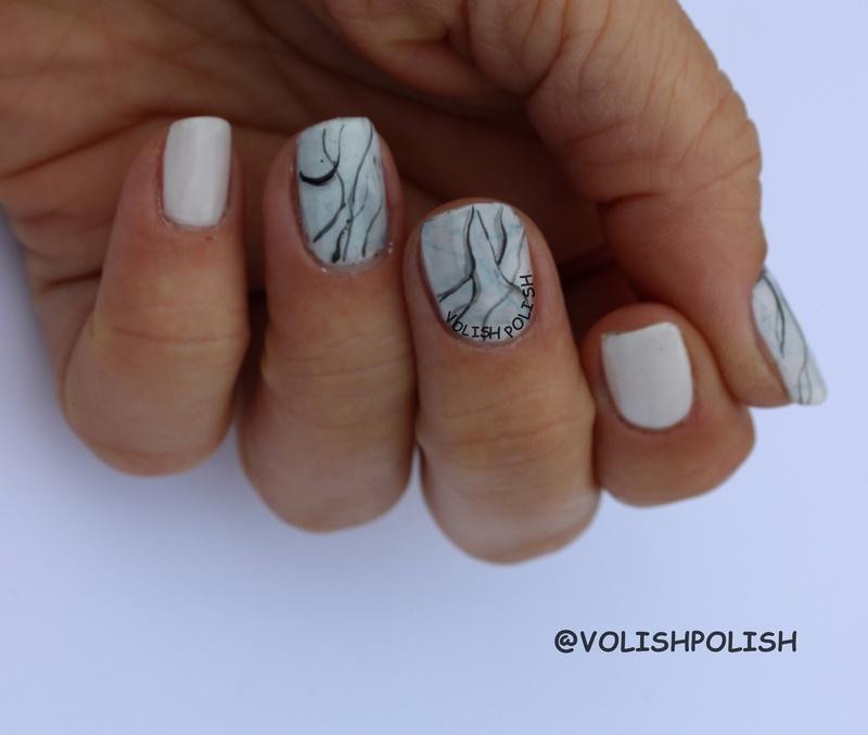 Stone marble nail art nail art by Volish Polish