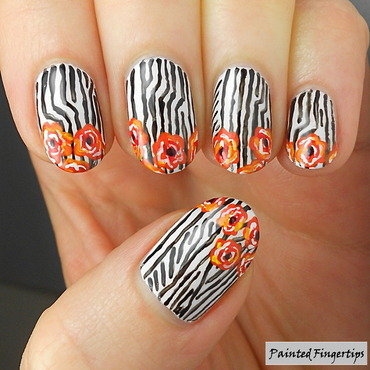 Flowers stripes nails thumb370f