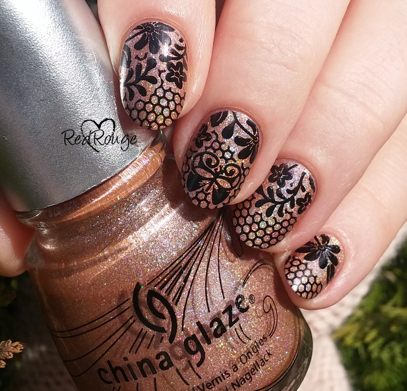 Flowers with lace nail art by RedRouge