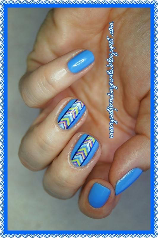 Blue rainbow nail art by ELIZA OK-W