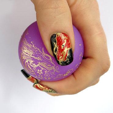 Stamping dragon jumbo stamper nail art gold polish blp b.a golden queen thumb370f