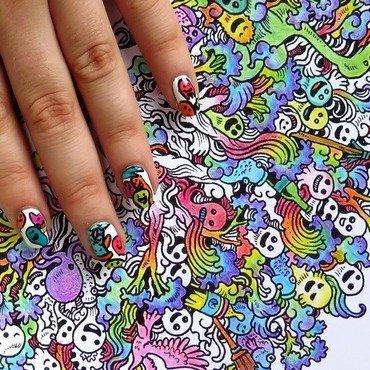 Doodle invasion colouring book rainbow nailart nails thumb370f