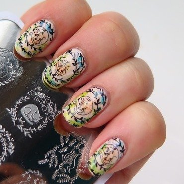 Watercolor cat stamping nail art by theCieniu