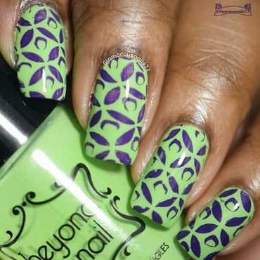 Purple & Green - Stamping Saturdays #14 nail art by glamorousnails23