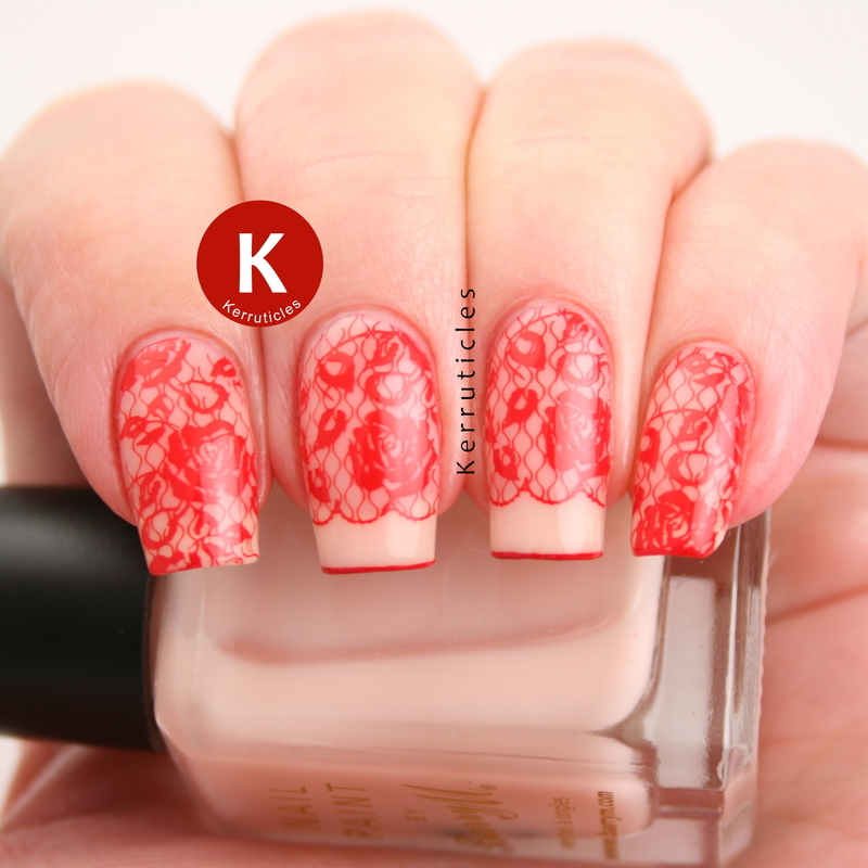 Red lace nails nail art by Claire Kerr