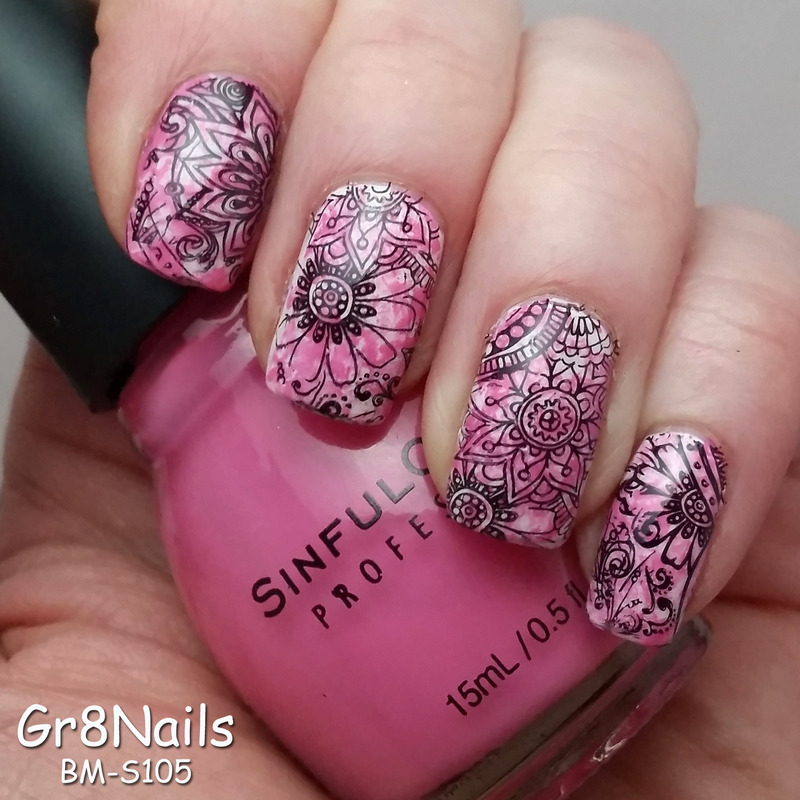 Bundle Monster Shangri-La nail art by Gr8Nails