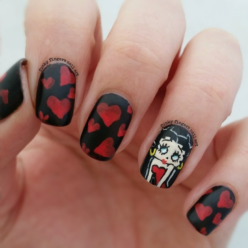 Betty boop nails nail art by Funky fingers nail art