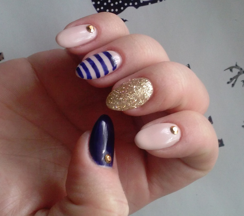 elegant stripes, gold stud nail art by Magda
